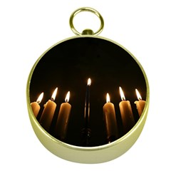 Hanukkah Chanukah Menorah Candles Candlelight Jewish Festival Of Lights Gold Compasses by yoursparklingshop