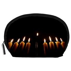 Hanukkah Chanukah Menorah Candles Candlelight Jewish Festival Of Lights Accessory Pouches (large)  by yoursparklingshop