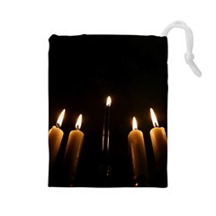 Hanukkah Chanukah Menorah Candles Candlelight Jewish Festival Of Lights Drawstring Pouches (large)  by yoursparklingshop