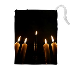 Hanukkah Chanukah Menorah Candles Candlelight Jewish Festival Of Lights Drawstring Pouches (extra Large) by yoursparklingshop
