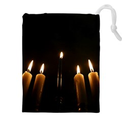 Hanukkah Chanukah Menorah Candles Candlelight Jewish Festival Of Lights Drawstring Pouches (xxl) by yoursparklingshop