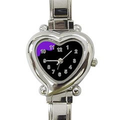 Purple And Black Heart Italian Charm Watch by Valentinaart