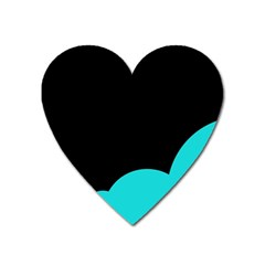 Black And Cyan Heart Magnet by Valentinaart