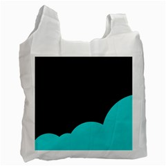 Black And Cyan Recycle Bag (two Side)  by Valentinaart