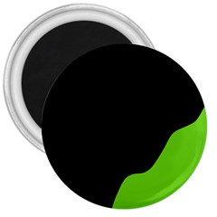 Black And Green 3  Magnets by Valentinaart