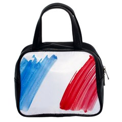 Tricolor Banner Flag France, Blue White Red Watercolor Classic Handbags (2 Sides) by picsaspassion
