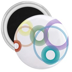 Rainbow Colors Circles 3  Magnets by picsaspassion