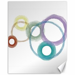 Rainbow Color Circles, Watercolor   Aquarel Painting Canvas 11  X 14   by picsaspassion