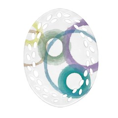 Rainbow Color Circles, Watercolor   Aquarel Painting Oval Filigree Ornament (2 Side)  by picsaspassion