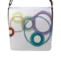 Rainbow Color Circles, Watercolor   Aquarel Painting Flap Messenger Bag (l)  by picsaspassion