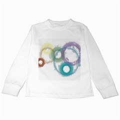 Rainbow Color Circles, Paintbrush Aquarel Kids Long Sleeve T Shirts by picsaspassion