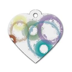 Rainbow Color Circles, Paintbrush Aquarel Dog Tag Heart (two Sides) by picsaspassion