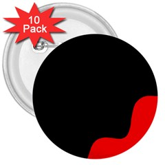 Black And Red 3  Buttons (10 Pack)  by Valentinaart