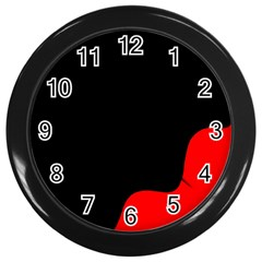 Black And Red Wall Clocks (black) by Valentinaart