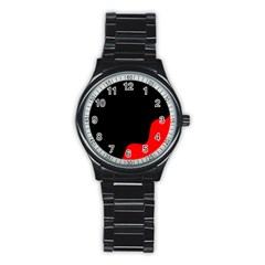 Black And Red Stainless Steel Round Watch by Valentinaart