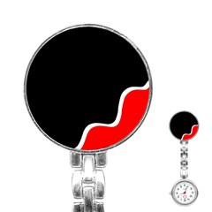 Simple Red And Black Desgin Stainless Steel Nurses Watch by Valentinaart