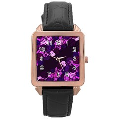 Purple Bubbles Rose Gold Leather Watch  by Valentinaart