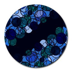 Blue Bubbles Round Mousepads by Valentinaart