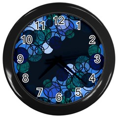 Blue Bubbles Wall Clocks (black) by Valentinaart