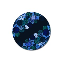 Blue Bubbles Magnet 3  (round) by Valentinaart