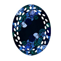 Blue Bubbles Oval Filigree Ornament (2 Side)  by Valentinaart