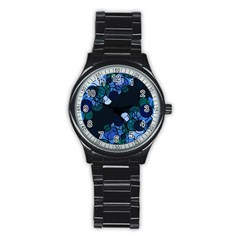 Blue Bubbles Stainless Steel Round Watch by Valentinaart