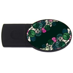 Green And Pink Bubbles Usb Flash Drive Oval (2 Gb)  by Valentinaart