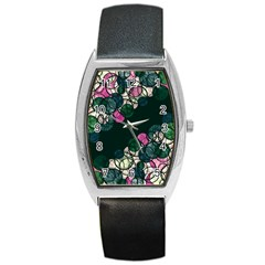 Green And Pink Bubbles Barrel Style Metal Watch by Valentinaart