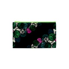 Green And Pink Bubbles Cosmetic Bag (xs) by Valentinaart