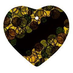 Yellow Bubbles Ornament (heart)  by Valentinaart