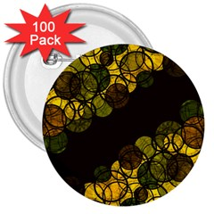 Yellow Bubbles 3  Buttons (100 Pack)  by Valentinaart