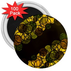Yellow Bubbles 3  Magnets (100 Pack) by Valentinaart