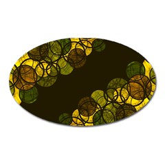 Yellow Bubbles Oval Magnet by Valentinaart