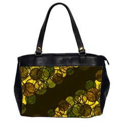 Yellow Bubbles Office Handbags (2 Sides)  by Valentinaart