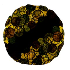 Yellow Bubbles Large 18  Premium Flano Round Cushions by Valentinaart