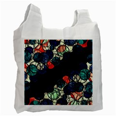 Orange And Blue Bubbles Recycle Bag (one Side) by Valentinaart