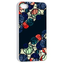 Orange And Blue Bubbles Apple Iphone 4/4s Seamless Case (white) by Valentinaart