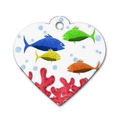 Corals And Fish Dog Tag Heart (two Sides) by Valentinaart