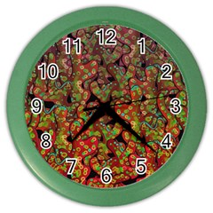 Red Corals Color Wall Clocks by Valentinaart