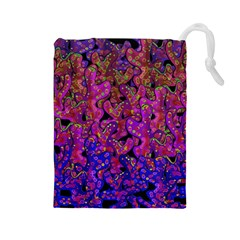 Purple Corals Drawstring Pouches (large)  by Valentinaart