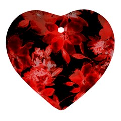 Red Flower  Heart Ornament (2 Sides) by Brittlevirginclothing