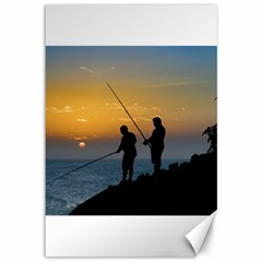 Two Men Fishing At Shore Canvas 12  X 18   by dflcprints