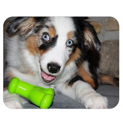Australian Shepherd Blue Merle Puppy With Green Toy Double Sided Flano Blanket (Medium)  by TailWags