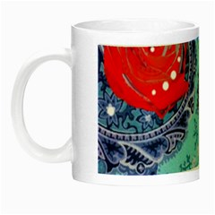 Red Pearled Roses  Night Luminous Mugs by Brittlevirginclothing