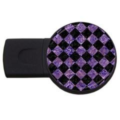 Square2 Black Marble & Purple Marble Usb Flash Drive Round (4 Gb) by trendistuff