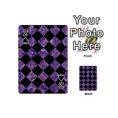 Square2 Black Marble & Purple Marble Playing Cards 54 (mini) by trendistuff