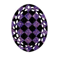 SQR2 BK-PR MARBLE Oval Filigree Ornament (2-Side)  by trendistuff