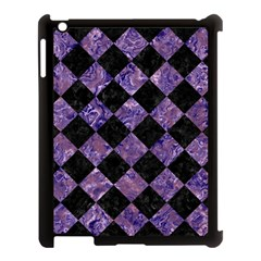 Square2 Black Marble & Purple Marble Apple Ipad 3/4 Case (black) by trendistuff
