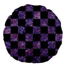 Square1 Black Marble & Purple Marble Large 18  Premium Flano Round Cushion  by trendistuff