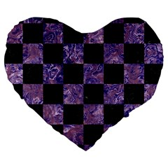 Square1 Black Marble & Purple Marble Large 19  Premium Flano Heart Shape Cushion by trendistuff